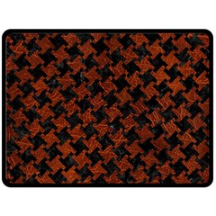 Houndstooth2 Black Marble & Reddish Brown Leather Double Sided Fleece Blanket (large)