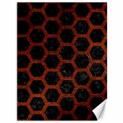 Hexagon2 Black Marble & Reddish Brown Leather (r) Canvas 36  X 48