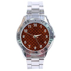 Scales1 Black Marble & Reddish Brown Leather Stainless Steel Analogue Watch