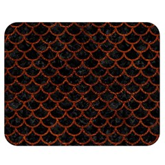 Scales1 Black Marble & Reddish Brown Leather (r) Double Sided Flano Blanket (medium)