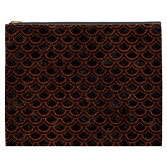 Scales2 Black Marble & Reddish Brown Leather (r) Cosmetic Bag (xxxl)