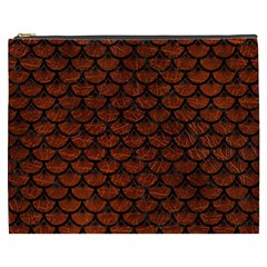 Scales3 Black Marble & Reddish Brown Leather Cosmetic Bag (xxxl)