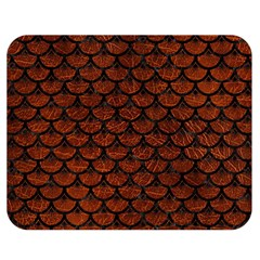 Scales3 Black Marble & Reddish Brown Leather Double Sided Flano Blanket (medium)