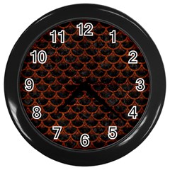 Scales3 Black Marble & Reddish Brown Leather (r) Wall Clocks (black)