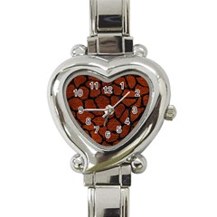 Skin1 Black Marble & Reddish Brown Leather (r) Heart Italian Charm Watch