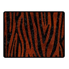 Skin4 Black Marble & Reddish Brown Leather (r) Double Sided Fleece Blanket (small)