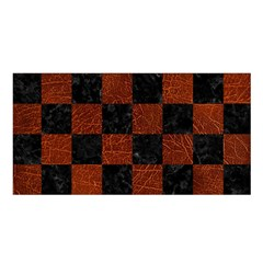 Square1 Black Marble & Reddish Brown Leather Satin Shawl