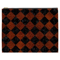 Square2 Black Marble & Reddish Brown Leather Cosmetic Bag (xxxl)