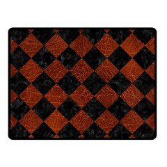 Square2 Black Marble & Reddish Brown Leather Double Sided Fleece Blanket (small)