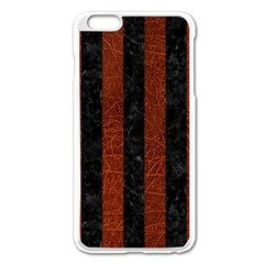 Stripes1 Black Marble & Reddish Brown Leather Apple Iphone 6 Plus/6s Plus Enamel White Case