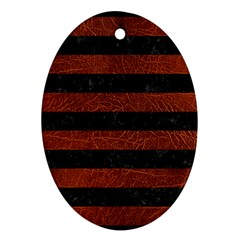 Stripes2 Black Marble & Reddish Brown Leather Ornament (oval)
