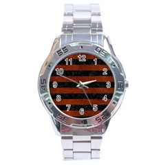 Stripes2 Black Marble & Reddish Brown Leather Stainless Steel Analogue Watch