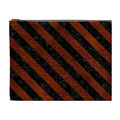 Stripes3 Black Marble & Reddish Brown Leather Cosmetic Bag (xl)