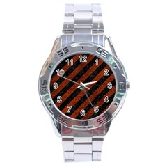Stripes3 Black Marble & Reddish Brown Leather (r) Stainless Steel Analogue Watch