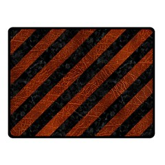 Stripes3 Black Marble & Reddish Brown Leather (r) Double Sided Fleece Blanket (small)