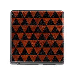 Triangle3 Black Marble & Reddish Brown Leather Memory Card Reader (square)