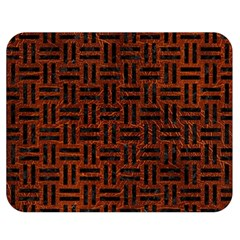 Woven1 Black Marble & Reddish Brown Leather Double Sided Flano Blanket (medium)