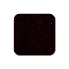 Brick2 Black Marble & Reddish Brown Wood (r) Rubber Coaster (square)