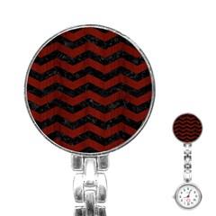 Chevron3 Black Marble & Reddish Brown Wood Stainless Steel Nurses Watch