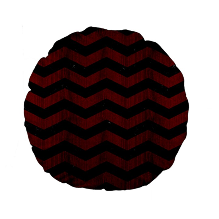 CHEVRON3 BLACK MARBLE & REDDISH-BROWN WOOD Standard 15  Premium Flano Round Cushions