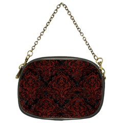 Damask1 Black Marble & Reddish Brown Wood (r) Chain Purses (two Sides)