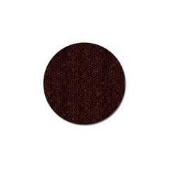 Hexagon1 Black Marble & Reddish Brown Wood (r) Golf Ball Marker (10 Pack)