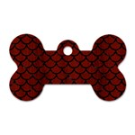 SCALES1 BLACK MARBLE & REDDISH-BROWN WOOD Dog Tag Bone (One Side) Front