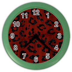Skin5 Black Marble & Reddish Brown Wood (r) Color Wall Clocks