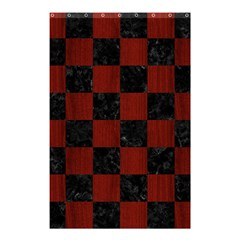 Square1 Black Marble & Reddish Brown Wood Shower Curtain 48  X 72  (small)
