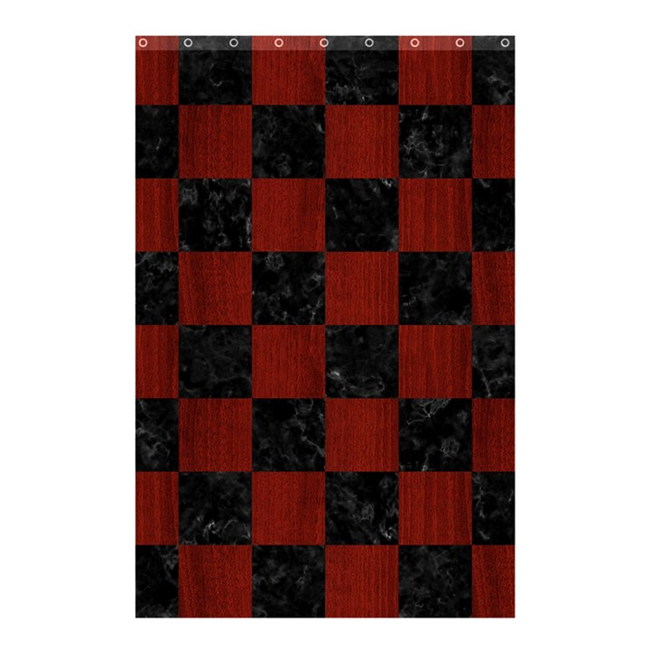 SQUARE1 BLACK MARBLE & REDDISH-BROWN WOOD Shower Curtain 48  x 72  (Small)