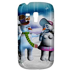Funny, Cute Snowman And Snow Women In A Winter Landscape Galaxy S3 Mini
