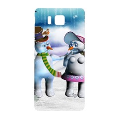 Funny, Cute Snowman And Snow Women In A Winter Landscape Samsung Galaxy Alpha Hardshell Back Case