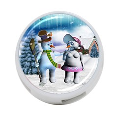 Funny, Cute Snowman And Snow Women In A Winter Landscape 4 Port Usb Hub (one Side)
