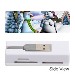 Funny, Cute Snowman And Snow Women In A Winter Landscape Memory Card Reader (stick)