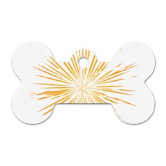 Fireworks Light Yellow Space Happy New Year Dog Tag Bone (one Side)