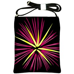 Fireworks Pink Red Yellow Black Sky Happy New Year Shoulder Sling Bags
