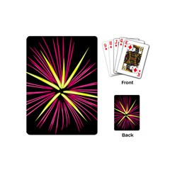 Fireworks Pink Red Yellow Black Sky Happy New Year Playing Cards (mini)