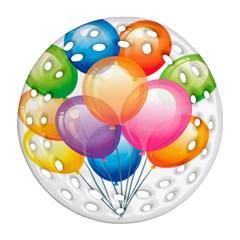 Birthday Happy New Year Balloons Rainbow Ornament (round Filigree)