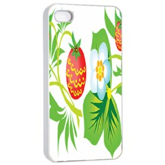 Fruit Flower Leaf Red White Green Starflower Apple Iphone 4/4s Seamless Case (white)