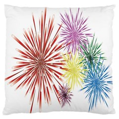 Happy New Year City Semmes Fireworks Rainbow Red Blue Yellow Purple Sky Standard Flano Cushion Case (two Sides)