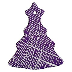 New York Map Art City Street Purple Line Christmas Tree Ornament (two Sides)