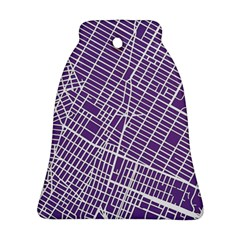 New York Map Art City Street Purple Line Bell Ornament (two Sides)