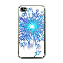 Fireworks Sky Blue Silver Light Star Sexy Apple Iphone 4 Case (clear)
