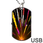 Seamless Colorful Light Fireworks Sky Black Ultra Dog Tag USB Flash (One Side) Front