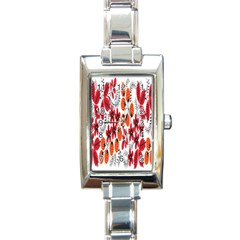 Rose Flower Red Orange Rectangle Italian Charm Watch