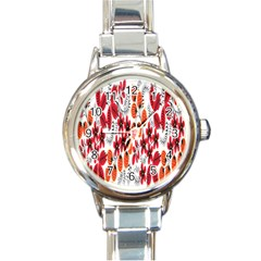 Rose Flower Red Orange Round Italian Charm Watch