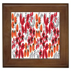 Rose Flower Red Orange Framed Tiles