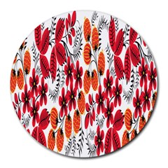 Rose Flower Red Orange Round Mousepads