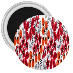 Rose Flower Red Orange 3  Magnets