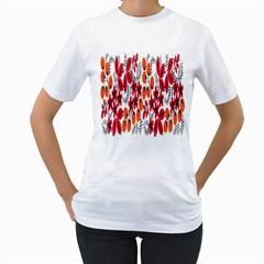 Rose Flower Red Orange Women s T Shirt (white) (two Sided)